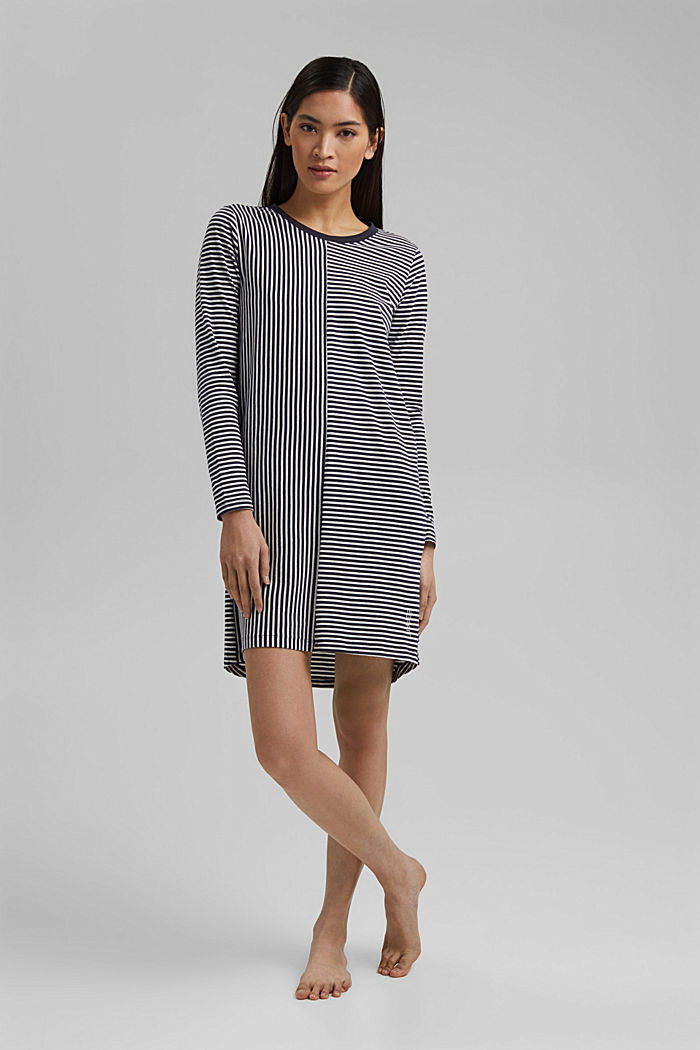 Nightshirt with stripes, organic cotton, NAVY, detail image number 0