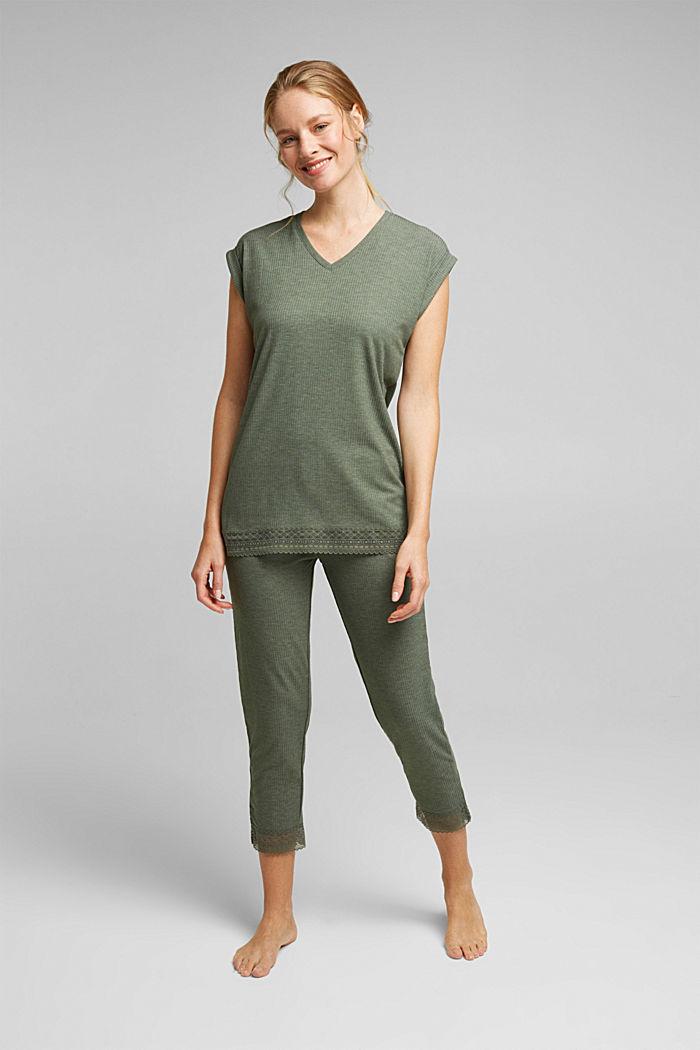 Pijama de jersey con LENZING™ ECOVERO™, LIGHT KHAKI, detail image number 0