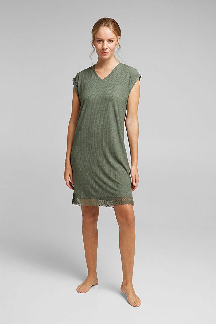 Jersey nightshirt with LENZING™ ECOVERO™, LIGHT KHAKI, detail image number 0