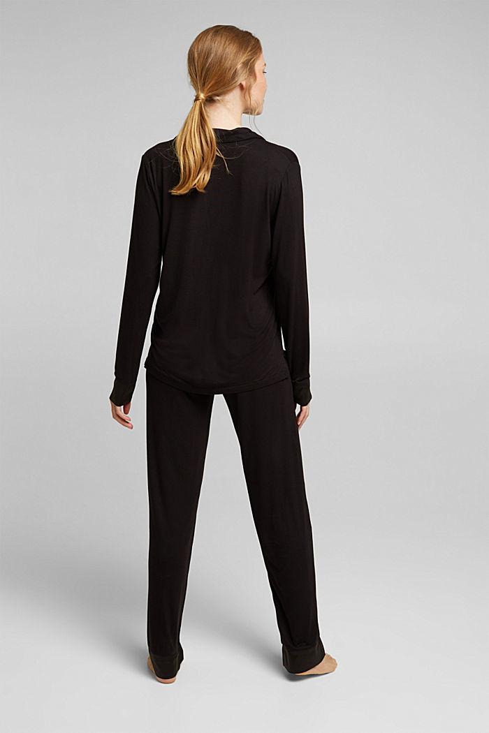 Jersey-Pyjama aus LENZING™ ECOVERO™, BLACK, detail image number 2