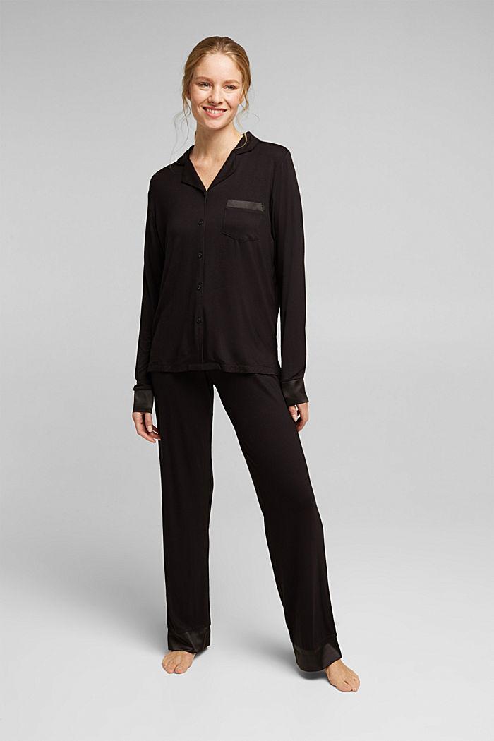 Jersey-Pyjama aus LENZING™ ECOVERO™, BLACK, detail image number 0