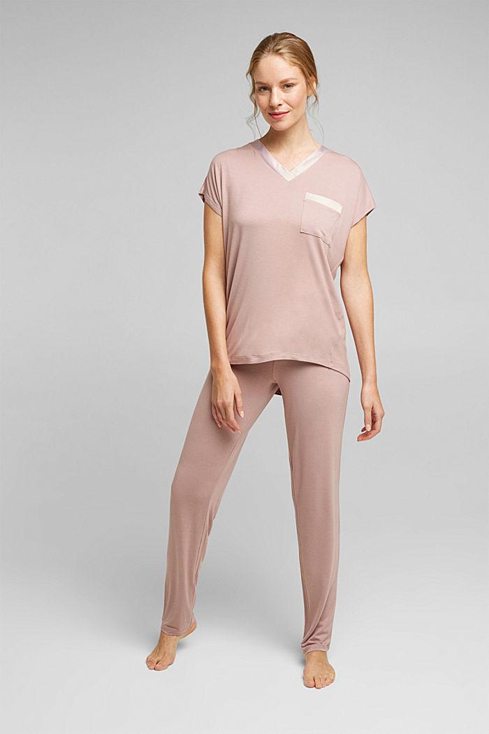 Jersey pyjamas in LENZING™ ECOVERO™, OLD PINK, detail image number 0