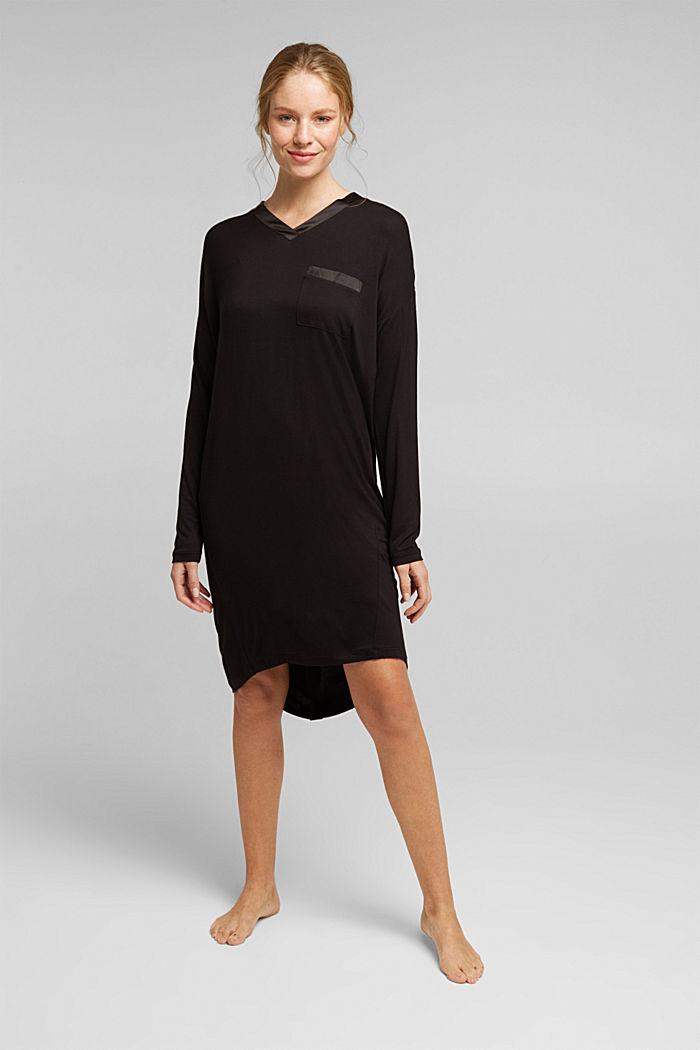 Nachthemd aus LENZING™ ECOVERO™, BLACK, detail image number 0