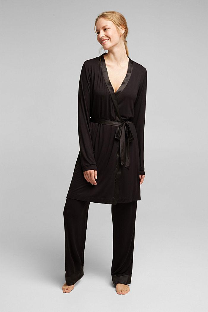 Jersey kimono van LENZING™ ECOVERO™, BLACK, detail image number 0