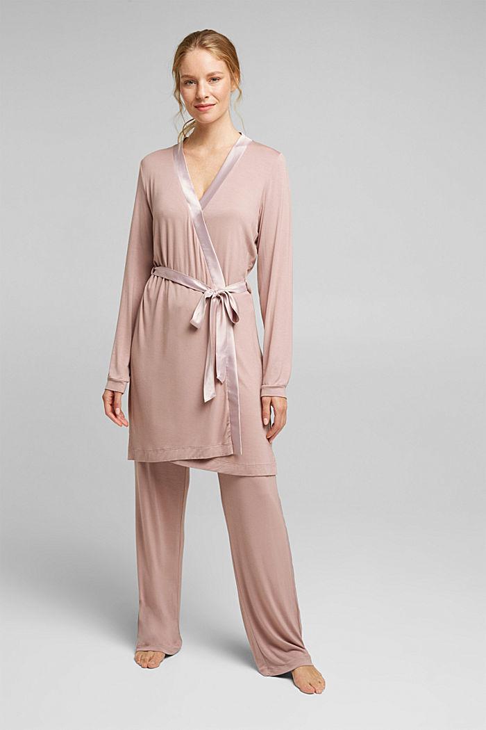 Jersey kimono van LENZING™ ECOVERO™, OLD PINK, detail image number 0