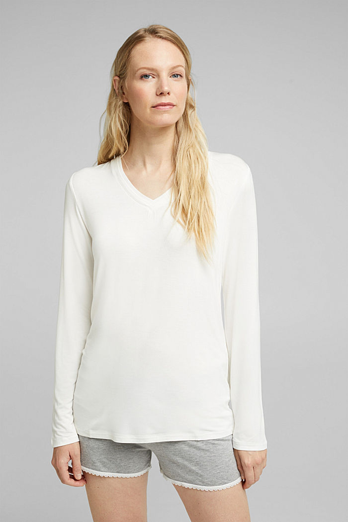 Long sleeve jersey top, OFF WHITE, detail image number 1