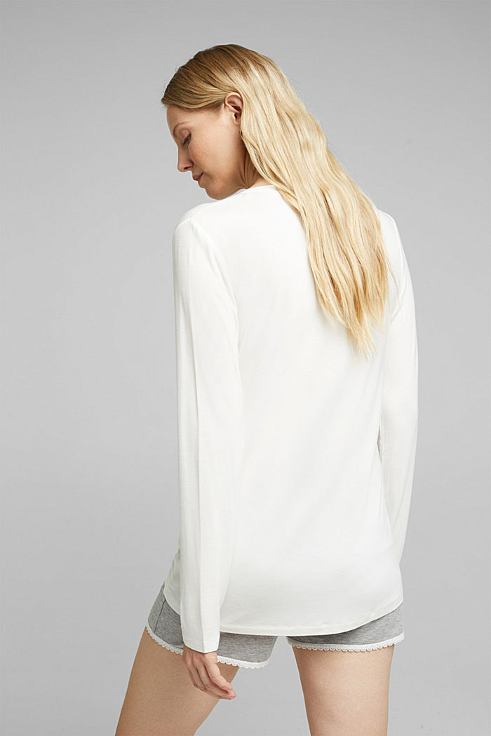 Long sleeve jersey top, OFF WHITE, detail image number 2