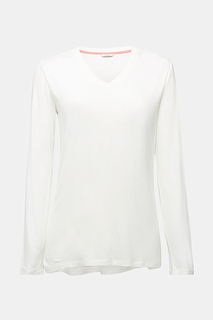 Long sleeve jersey top, OFF WHITE, detail image number 6