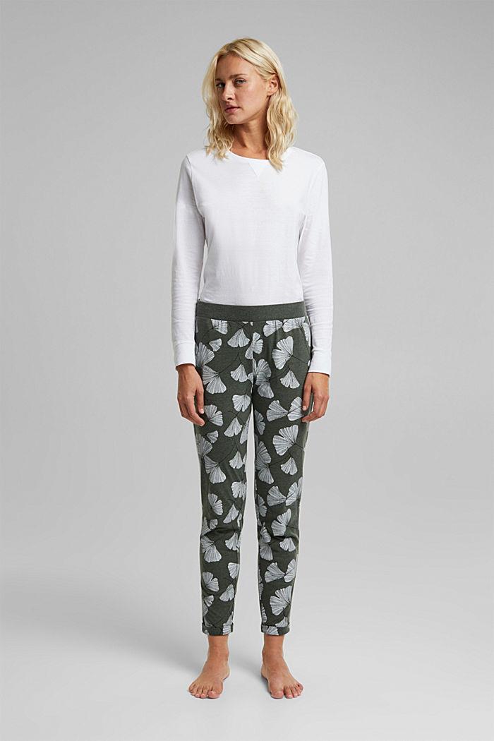 Pyjamas trousers with organic cotton, LIGHT KHAKI, detail image number 0