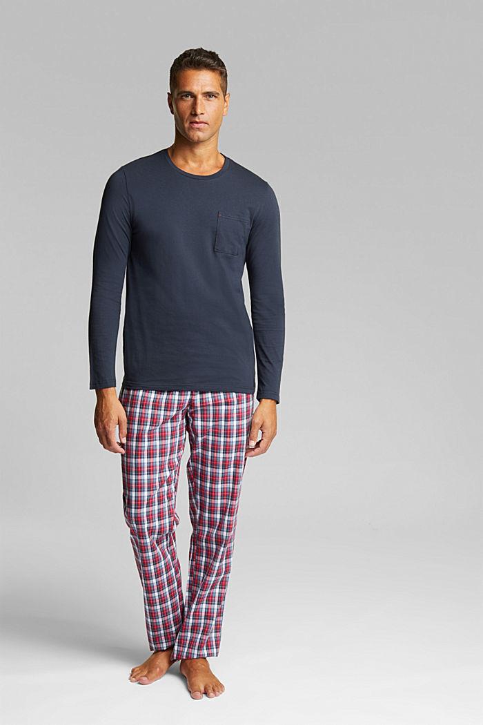 Jersey/fabric pyjamas, organic cotton, NAVY, detail image number 1