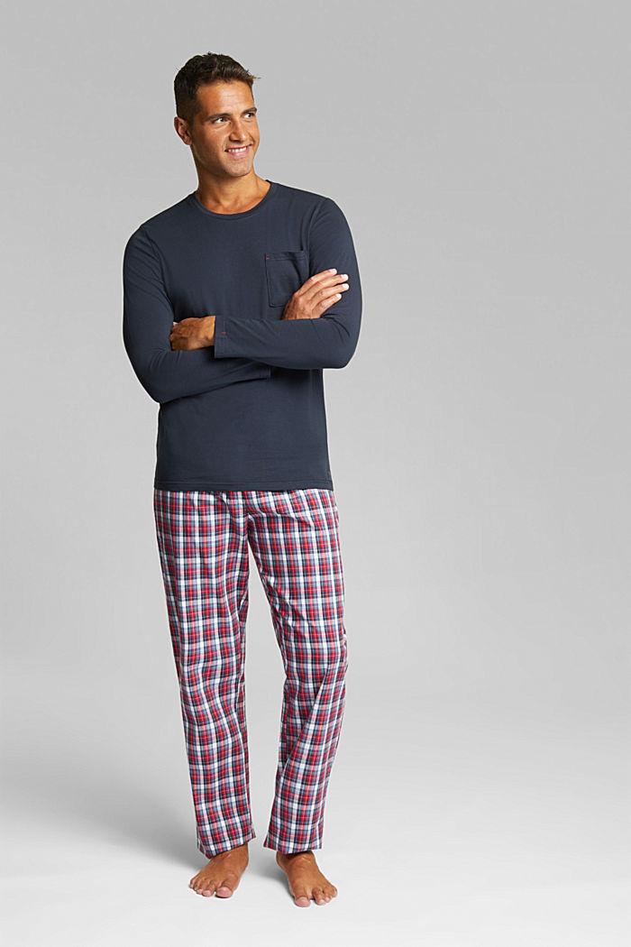 Jersey/fabric pyjamas, organic cotton, NAVY, detail image number 0