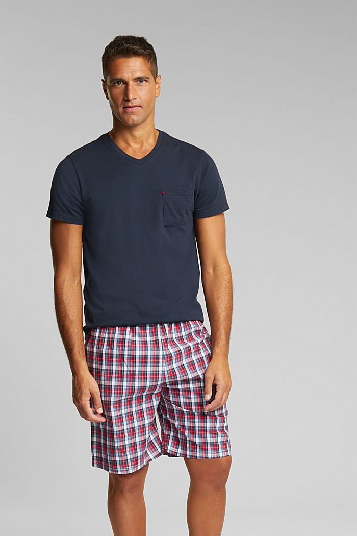 Pyjamas with check shorts, organic cotton, NAVY, detail image number 1