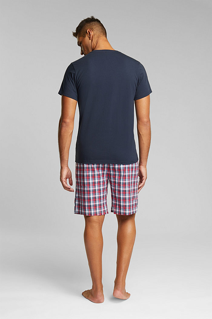 Pyjamas with check shorts, organic cotton, NAVY, detail image number 2