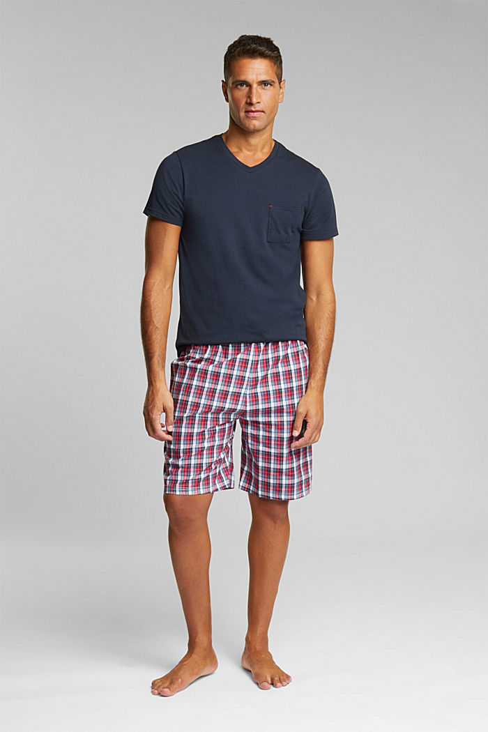 Pyjamas with check shorts, organic cotton, NAVY, detail image number 0