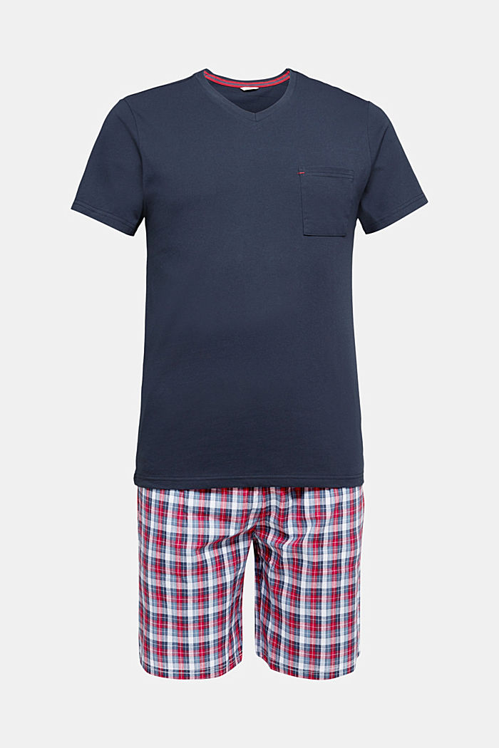 Pyjamas with check shorts, organic cotton, NAVY, detail image number 4