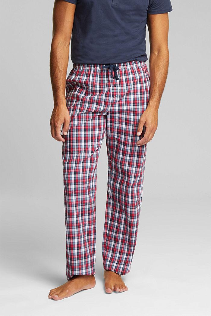 Karierte Pyjama-Hose aus 100% Bio-Baumwolle, NAVY, detail image number 1