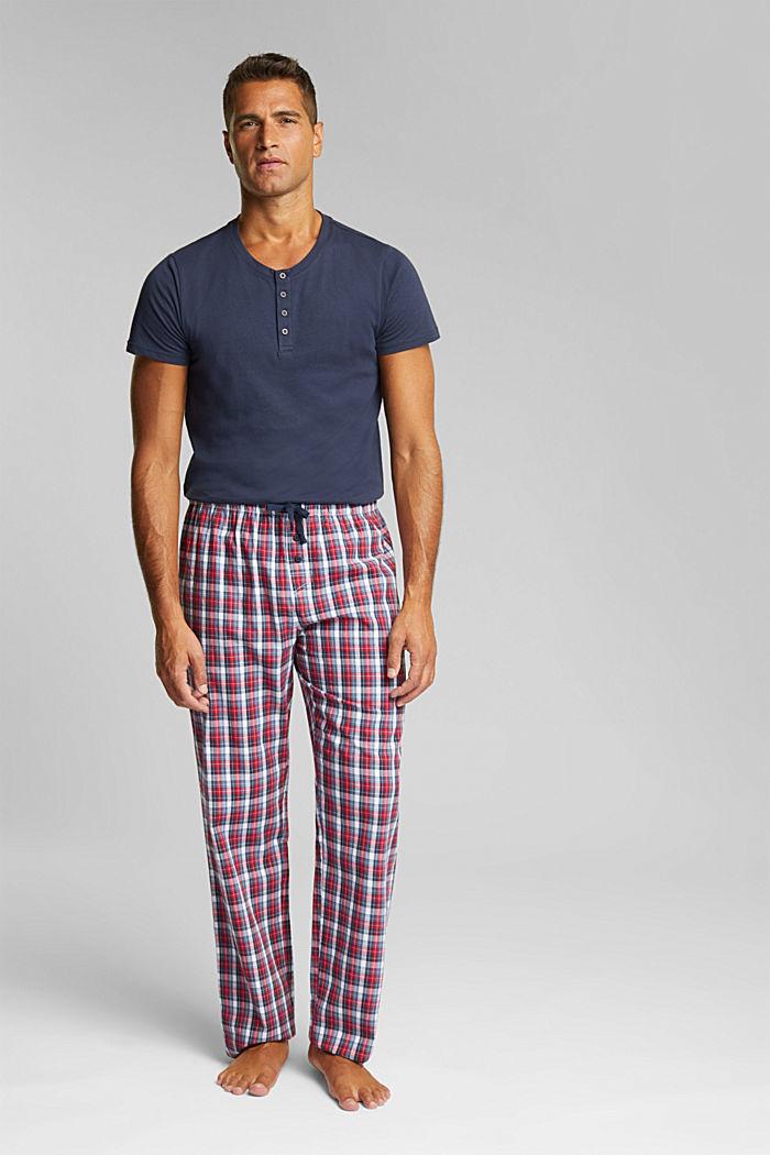 Karierte Pyjama-Hose aus 100% Bio-Baumwolle, NAVY, detail image number 0