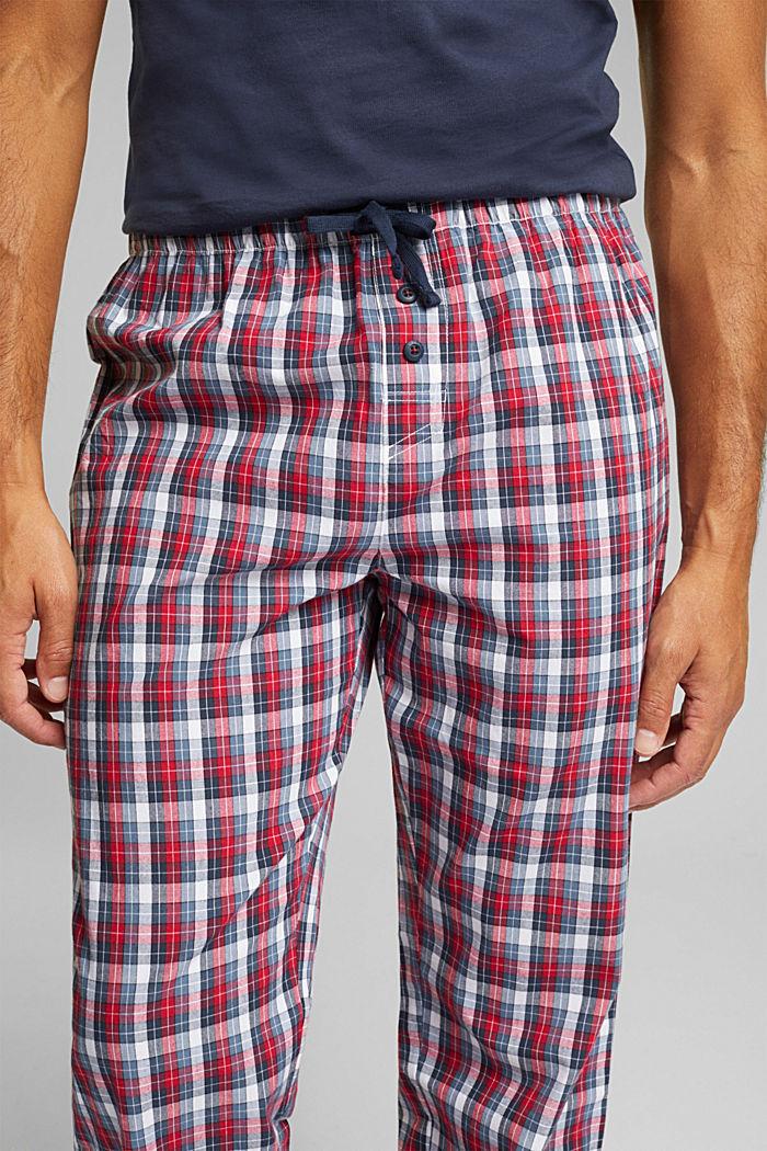 Karierte Pyjama-Hose aus 100% Bio-Baumwolle, NAVY, detail image number 3