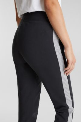 Tracksuit bottoms with hem zips, BLACK, detail