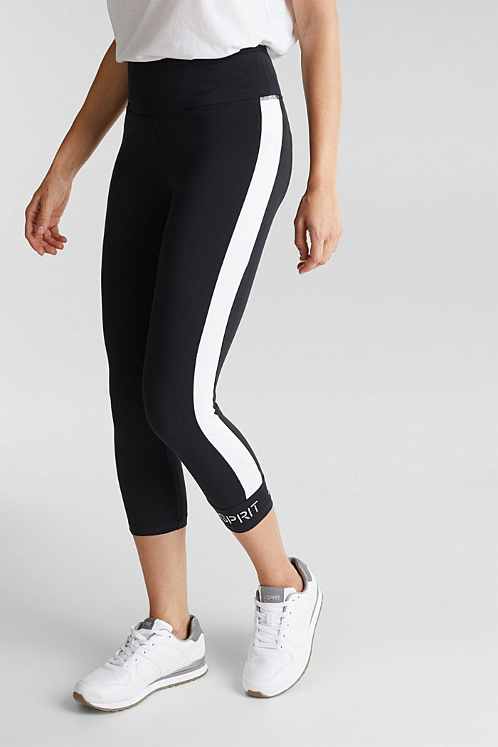 Leggings with stripes and organic cotton, BLACK, detail image number 0