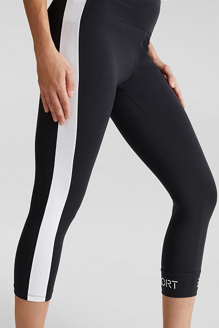 Leggings with stripes and organic cotton, BLACK, detail image number 2