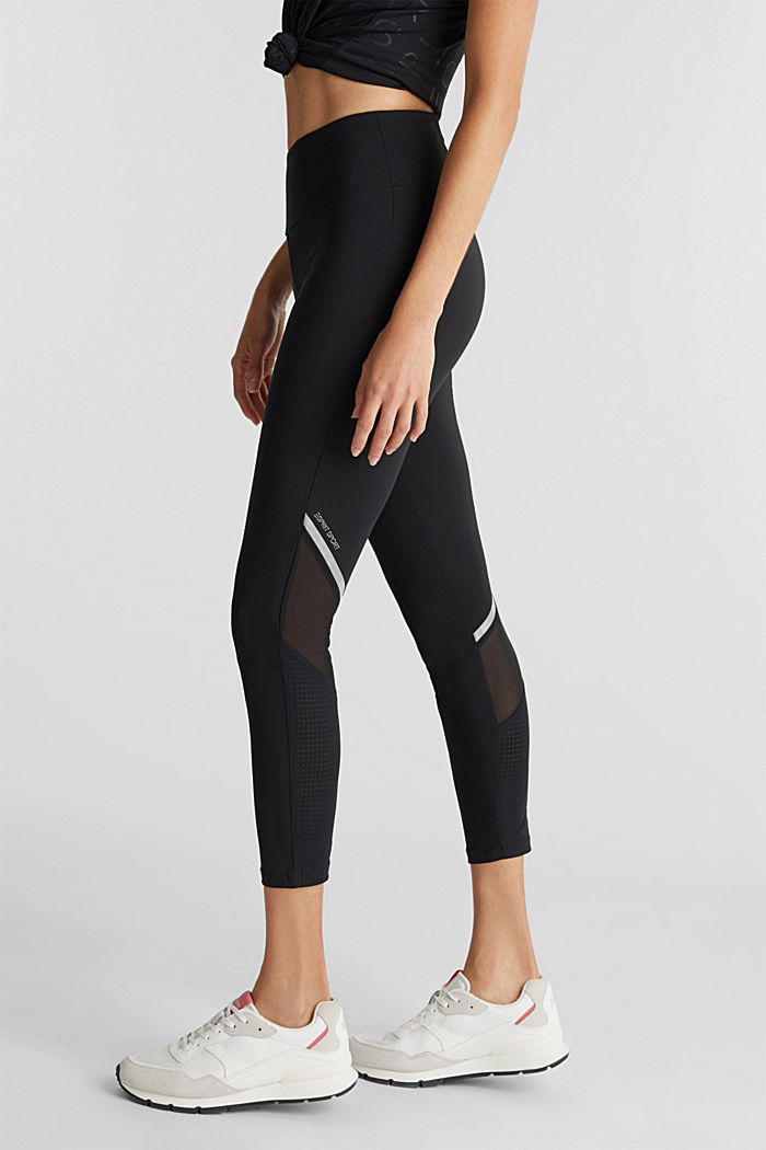 Leggings with reflective tape, E-DRY, BLACK, detail image number 0