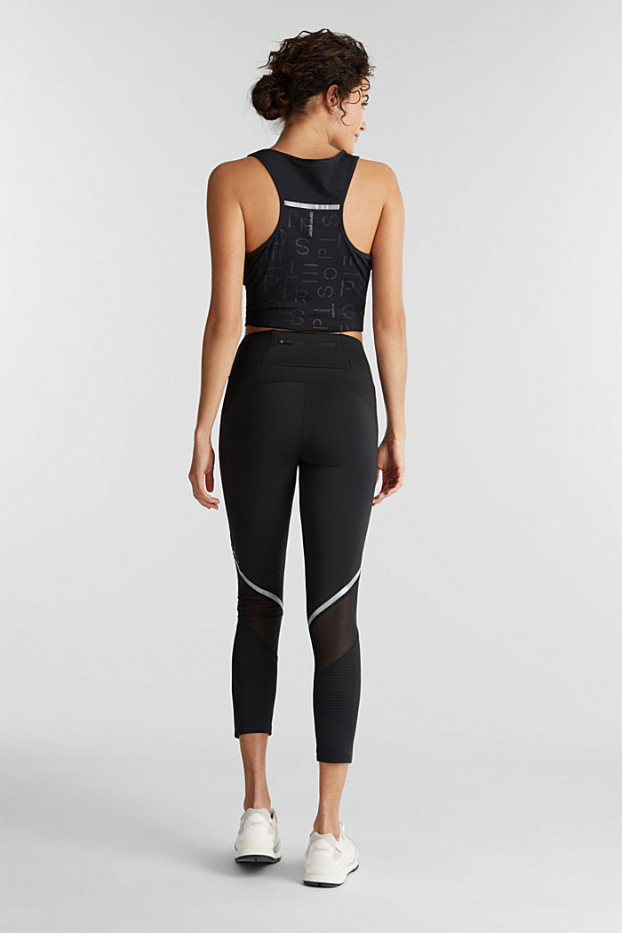 Leggings with reflective tape, E-DRY, BLACK, detail image number 3