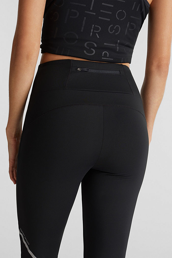 Leggings with reflective tape, E-DRY, BLACK, detail image number 2