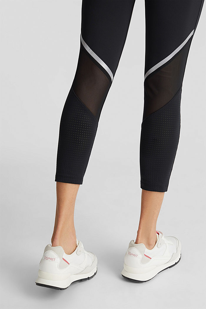 Leggings with reflective tape, E-DRY, BLACK, detail image number 5