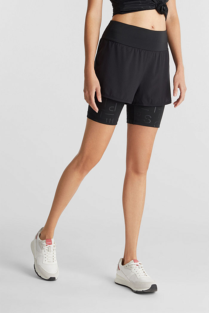 Double-layered edry shorts, BLACK, detail image number 0