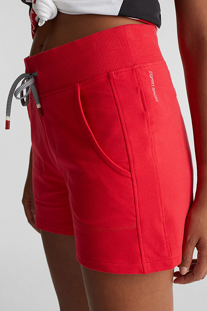 Blended cotton sweat shorts, RED, detail image number 1