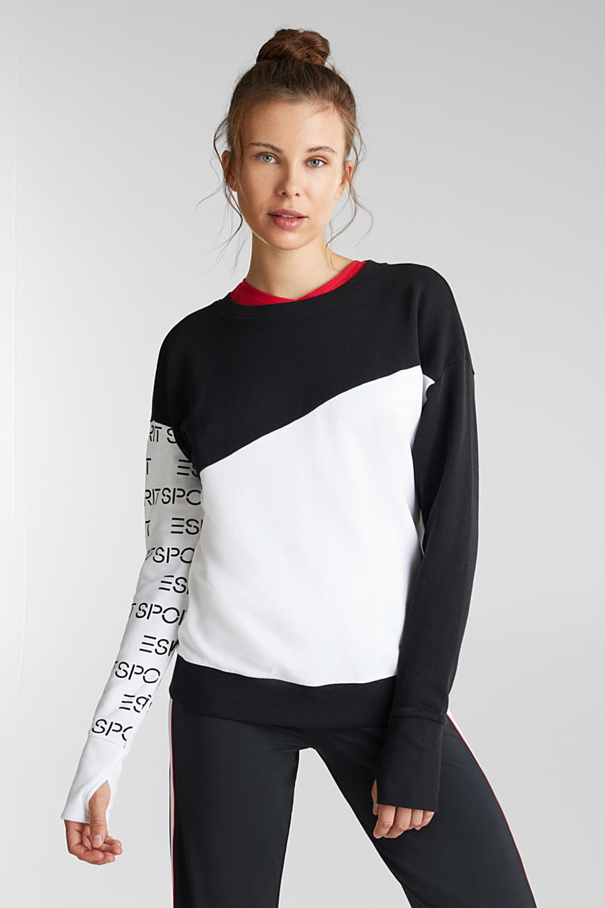 Sweat-shirt colour blocking, 100 % coton