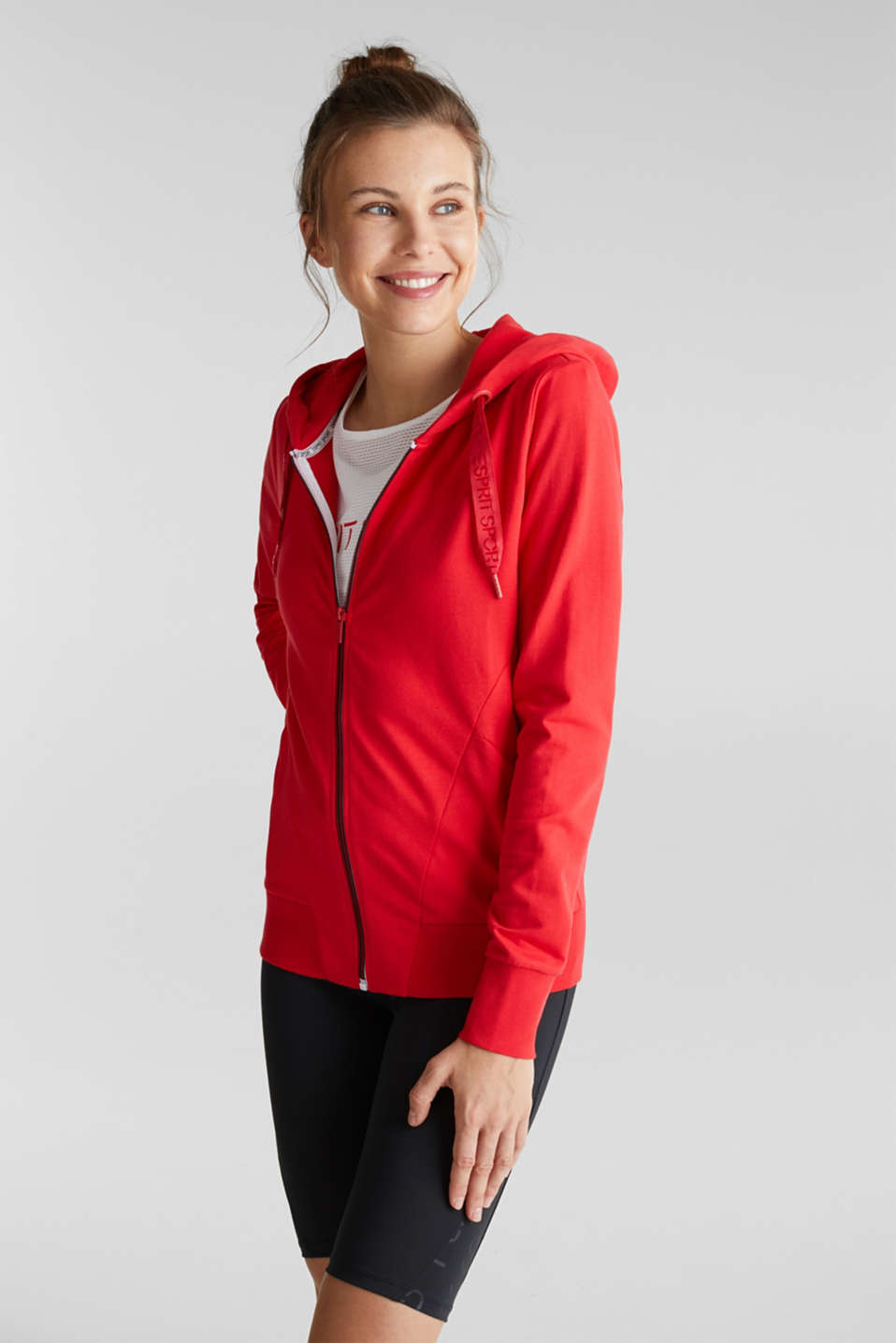 Esprit - Sweat-Cardigan aus Baumwoll-Stretch