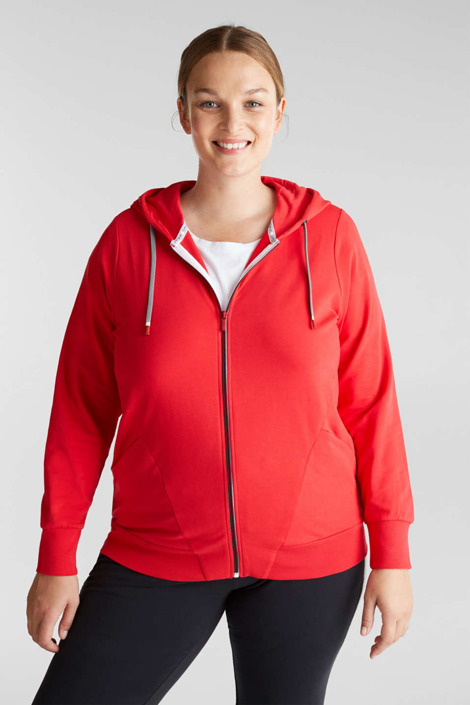 Esprit - CURVY hoodie with stretch for comfort