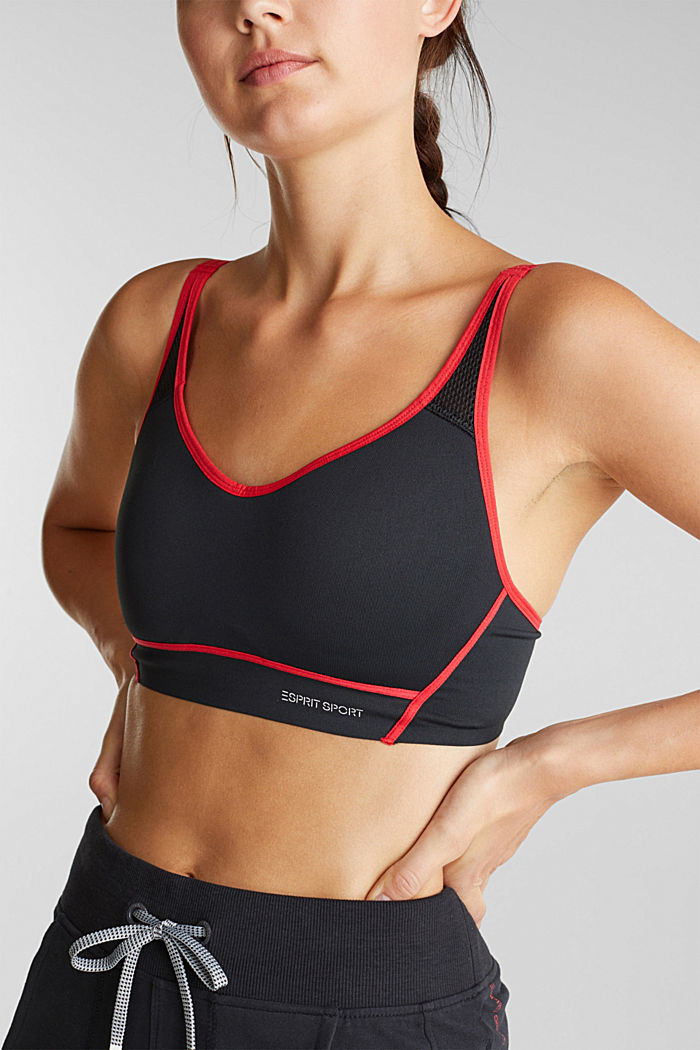 Non-wired, seamless sports bra, BLACK, detail image number 3