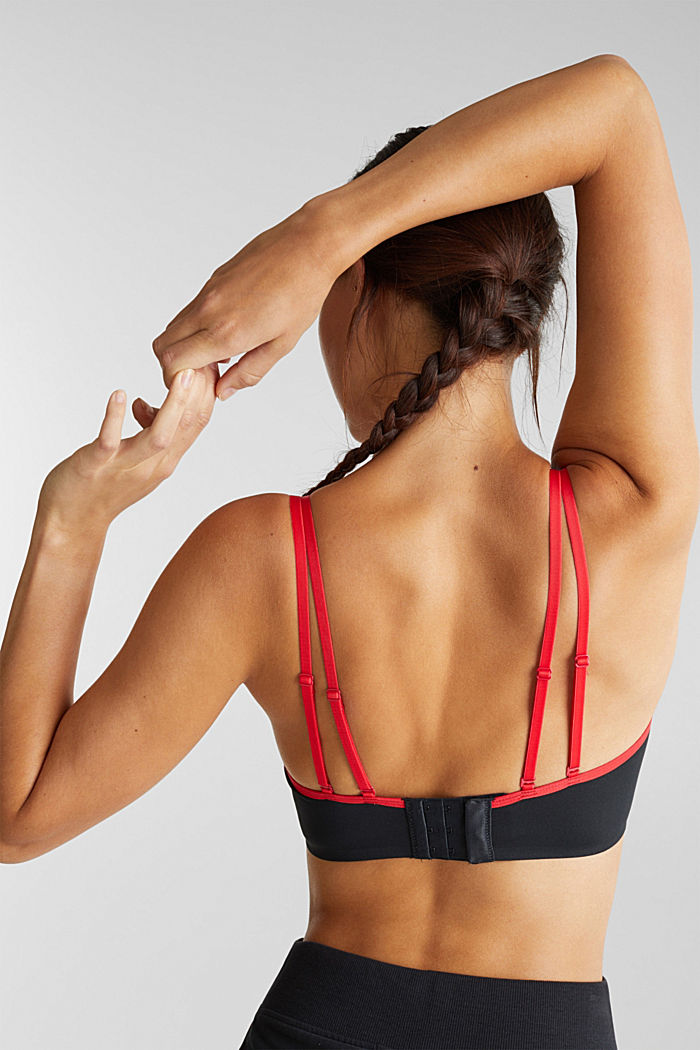 Non-wired, seamless sports bra, BLACK, detail image number 5