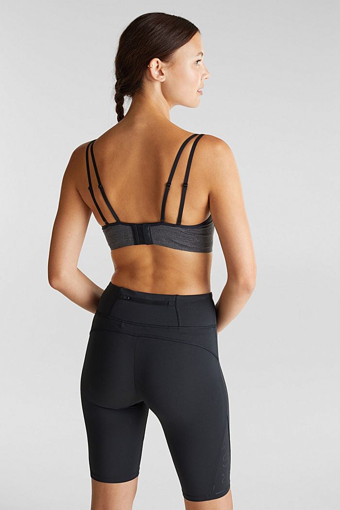 Non-wired, seamless sports bra, ANTHRACITE, detail image number 1