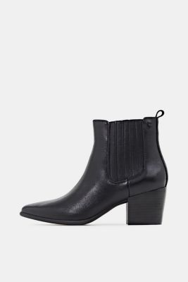 Ankle boots made of 100% genuine leather, BLACK, detail