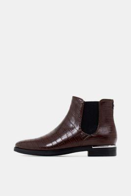 Faux leather Chelsea boots, DARK BROWN, detail