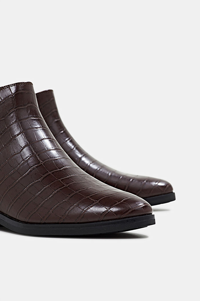 Stivaletti chelsea in similpelle, DARK BROWN, detail image number 4