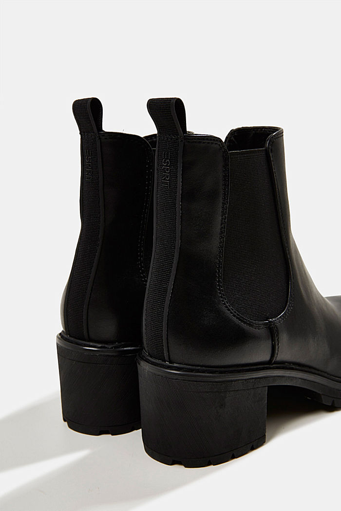 Chelsea ankle boots with a treaded sole, BLACK, detail image number 4