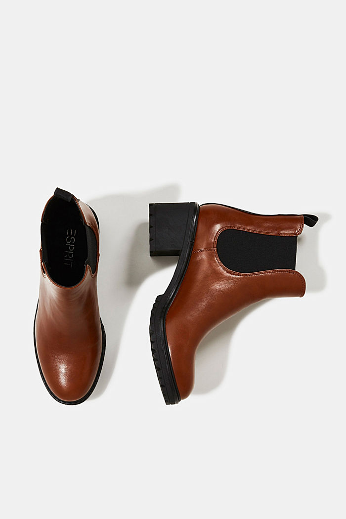 Chelsea ankle boots with a treaded sole, TOFFEE, detail image number 1