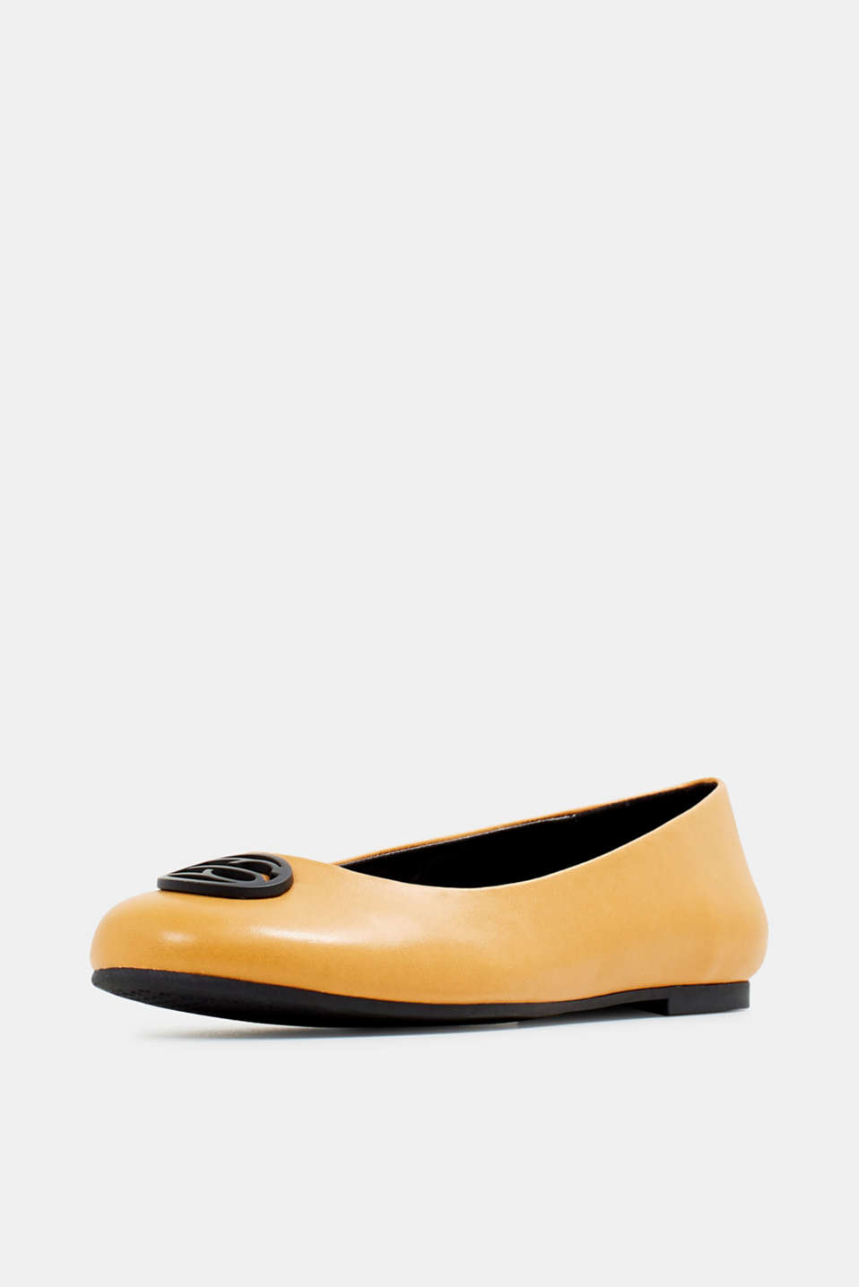 Ballerinas with an ornamental logo, AMBER YELLOW, detail image number 2