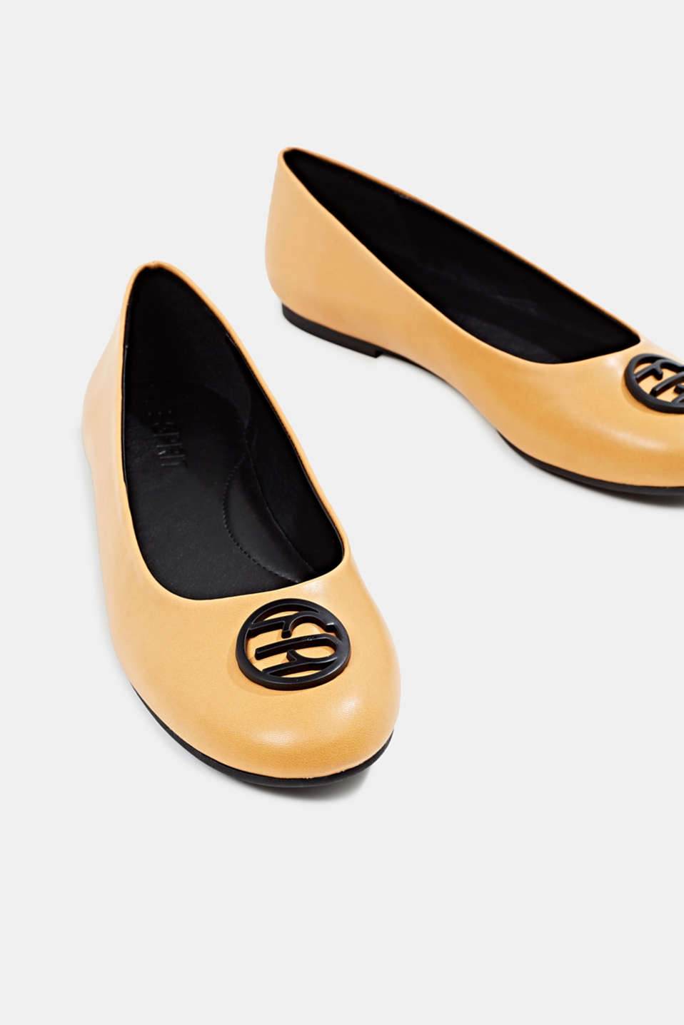 Ballerinas with an ornamental logo, AMBER YELLOW, detail image number 4