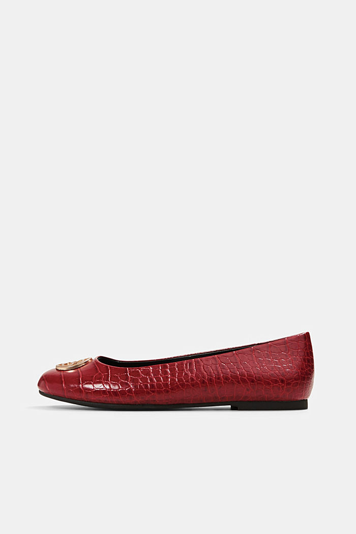 Ballerinas in faux reptile leather, RED, detail image number 0