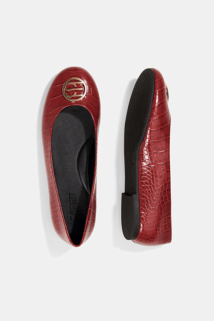 Ballerinas in faux reptile leather, RED, detail image number 1