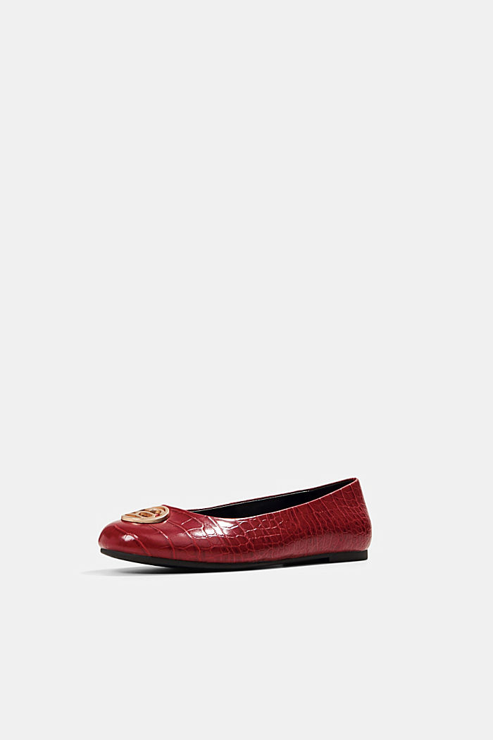 Ballerinas in faux reptile leather, RED, detail image number 2