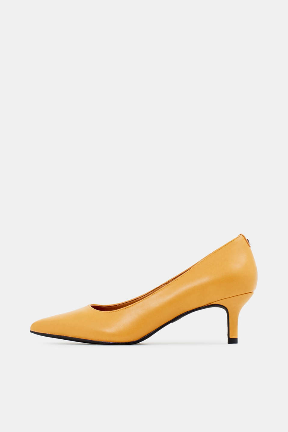 Heeled court shoes, AMBER YELLOW, detail image number 0