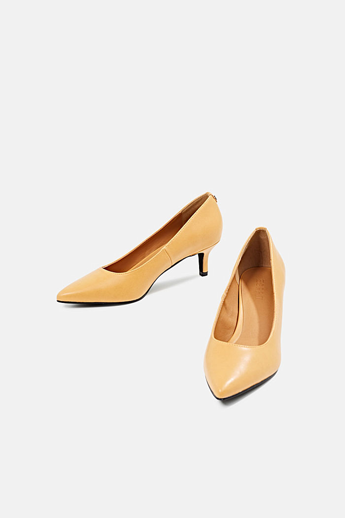 Heeled court shoes, AMBER YELLOW, detail image number 1