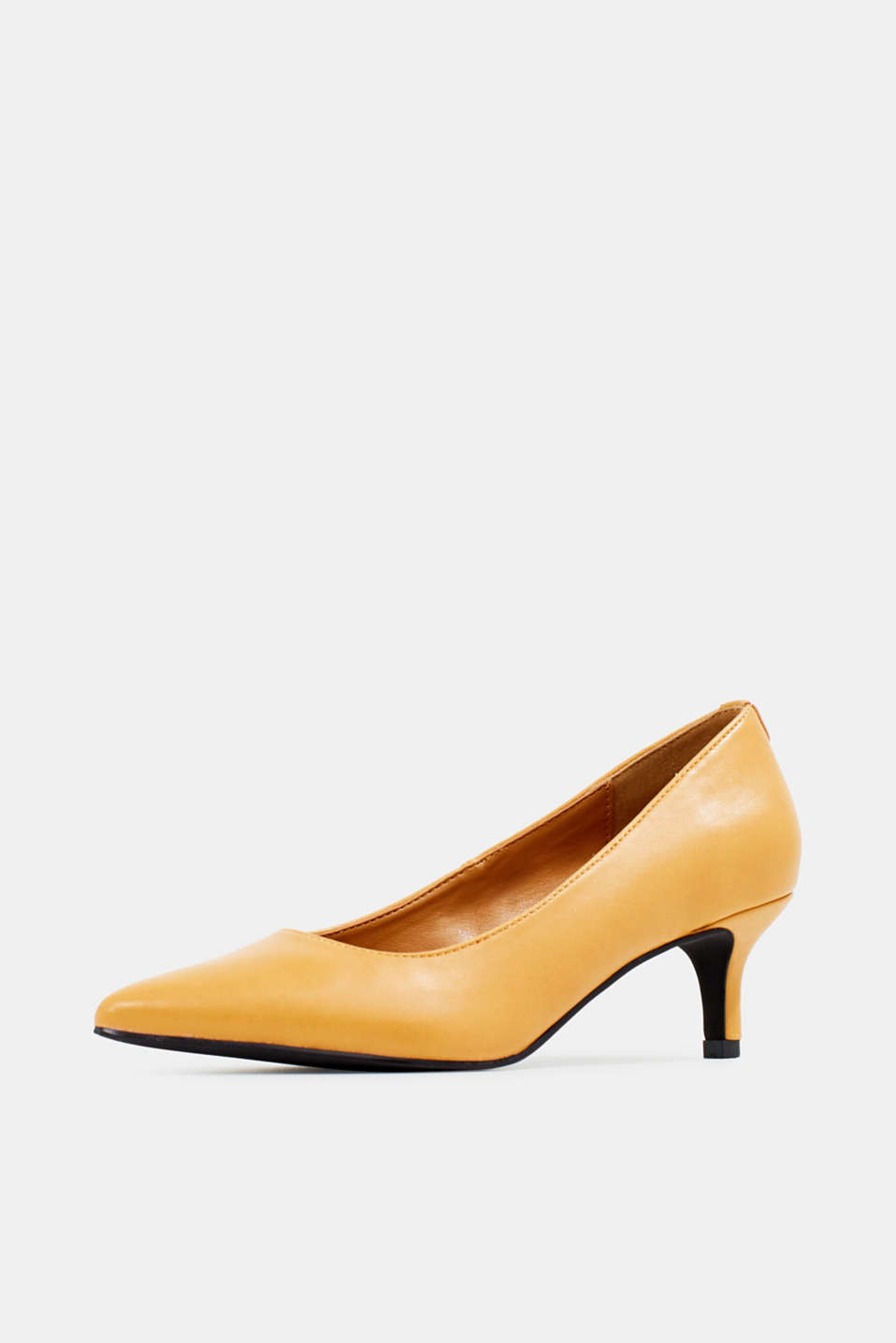 Heeled court shoes, AMBER YELLOW, detail image number 2